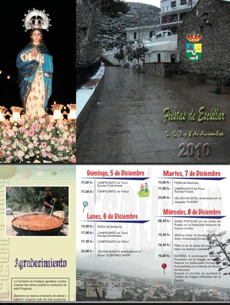 Fiestas Patronales en honor a la Inmaculada Concepción de Escúllar del 5 al 8 de Diciembre