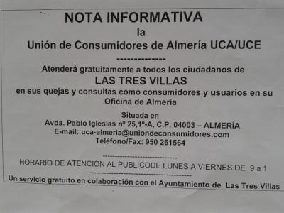 El Ayuntamiento de Las Tres Villas firma un convenio con la Unión de Consumidores de Almería